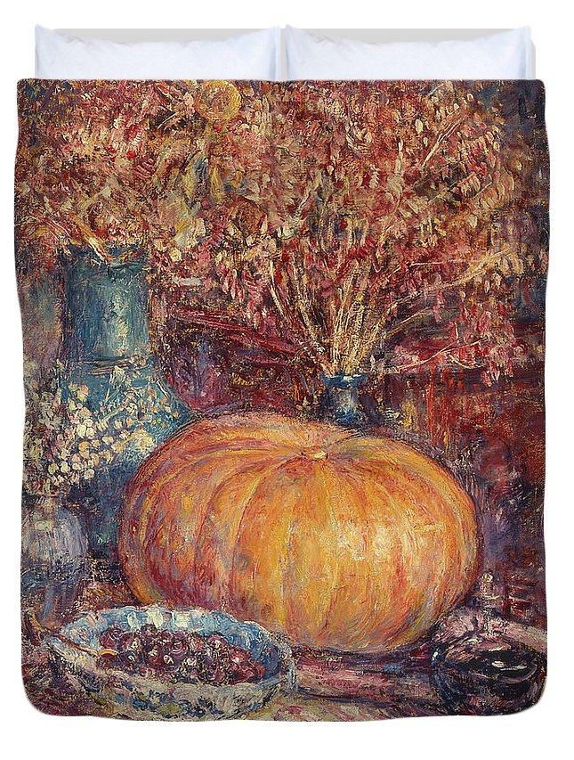 Still Life With Pumpkin Duvet Cover featuring the painting Still Life With Pumpkin by George Morren