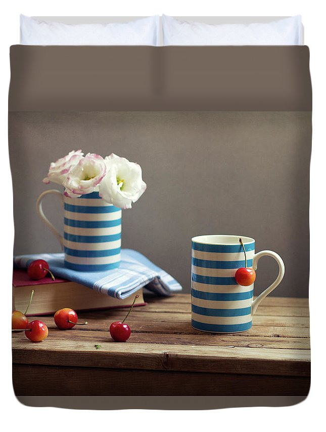 Cherry Duvet Cover featuring the photograph Still Life With Striped Cups by Copyright Anna Nemoy(xaomena)