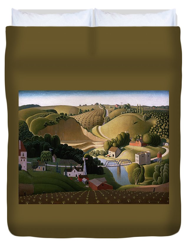 Grant Wood Duvet Cover featuring the painting Stone City, 1930 by Grant Wood