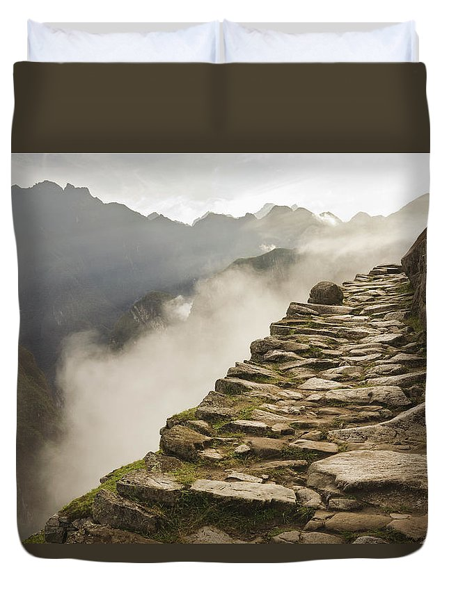 Machu Picchu Duvet Cover featuring the photograph Stone Inca Trail by David Madison