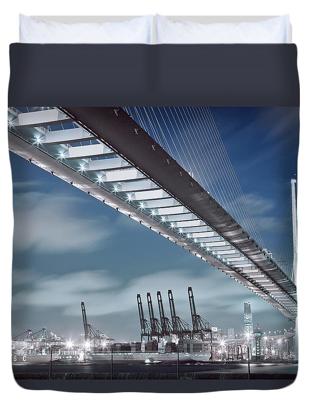Built Structure Duvet Cover featuring the photograph Stonecutters And Container Terminal by Andi Andreas