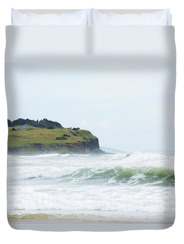 Tide Duvet Cover featuring the photograph Storm Swell Waves On A Beach by David Freund