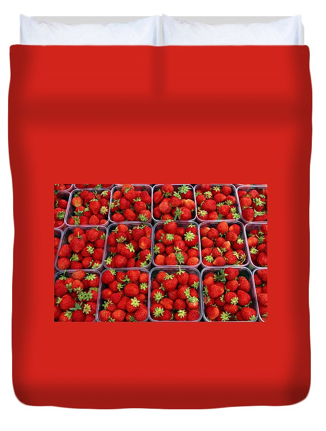 Fruit Carton Duvet Cover featuring the photograph Strawberries For Sale, Bergen, Norway by Anders Blomqvist