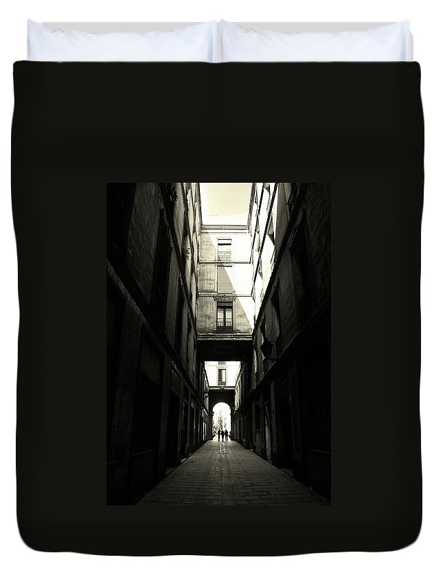 Arch Duvet Cover featuring the photograph Street In Barcelona by Maria Fernandez
