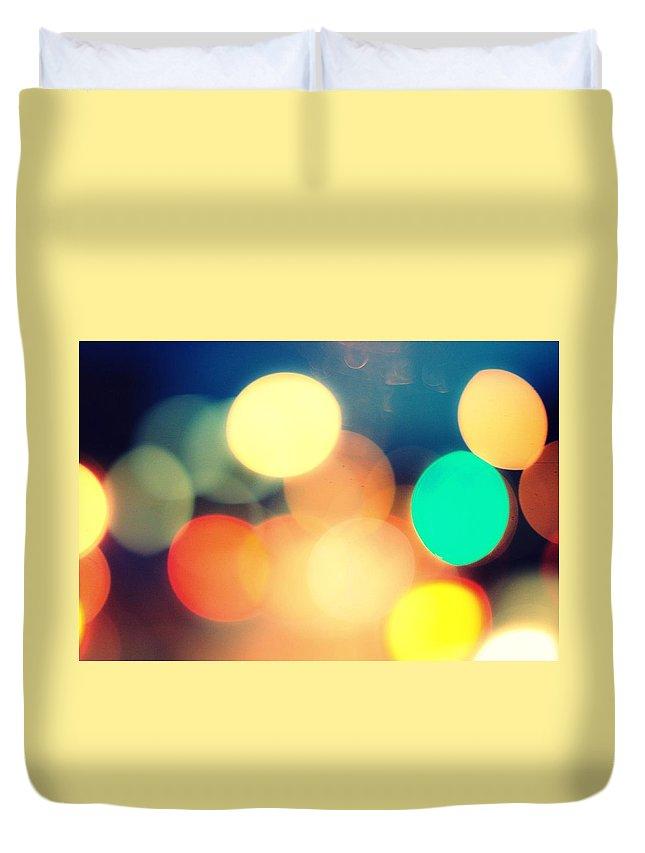 Car Interior Duvet Cover featuring the photograph Streetlight Candy by Espen Løken