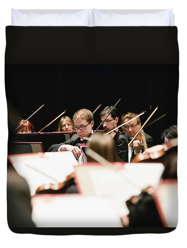 Young Men Duvet Cover featuring the photograph String Section In Orchestra by Hybrid Images