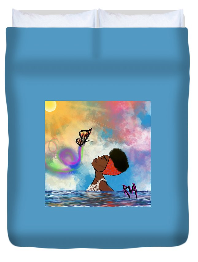 Baptism Duvet Cover featuring the painting Strip off the old personality by Artist RiA
