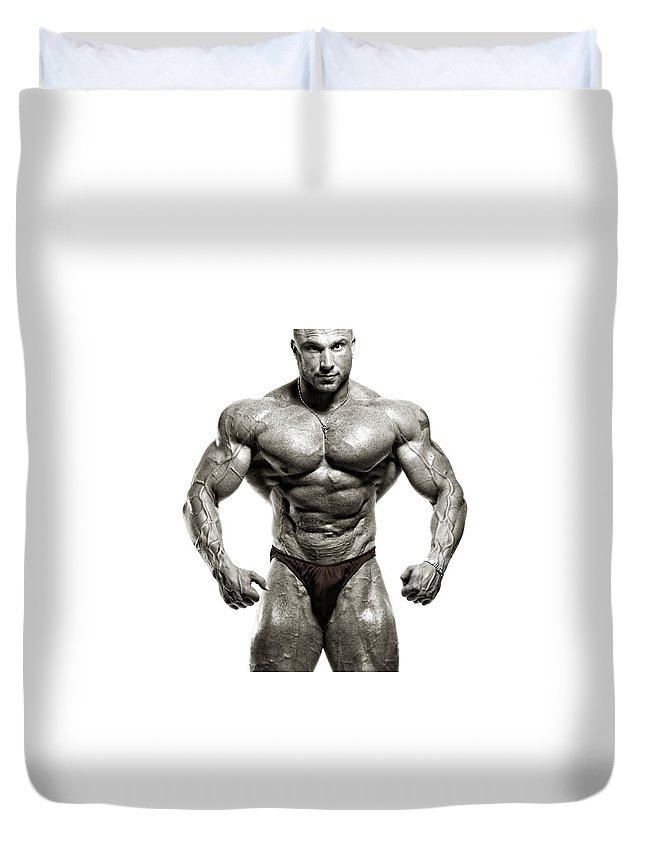 Abdominal Muscle Duvet Cover featuring the photograph Strong Male Model by Spanic