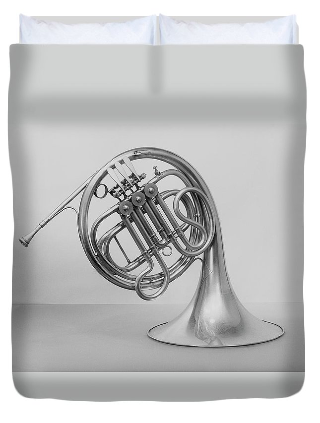 White Background Duvet Cover featuring the photograph Studio Shot Of French Horn by George Marks