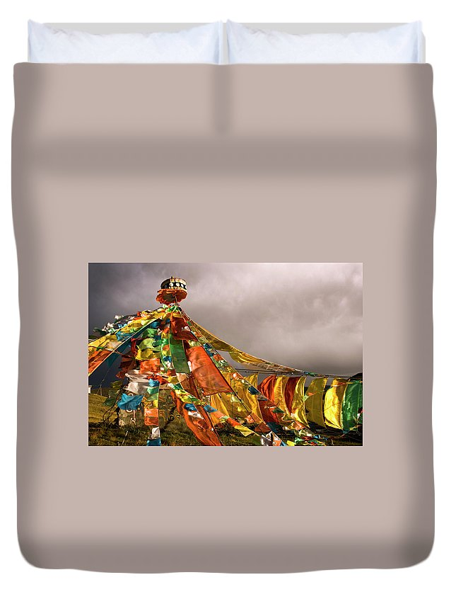 Chinese Culture Duvet Cover featuring the photograph Stupa, Buddhist Altar In Tibet, Flags by Stefano Tronci