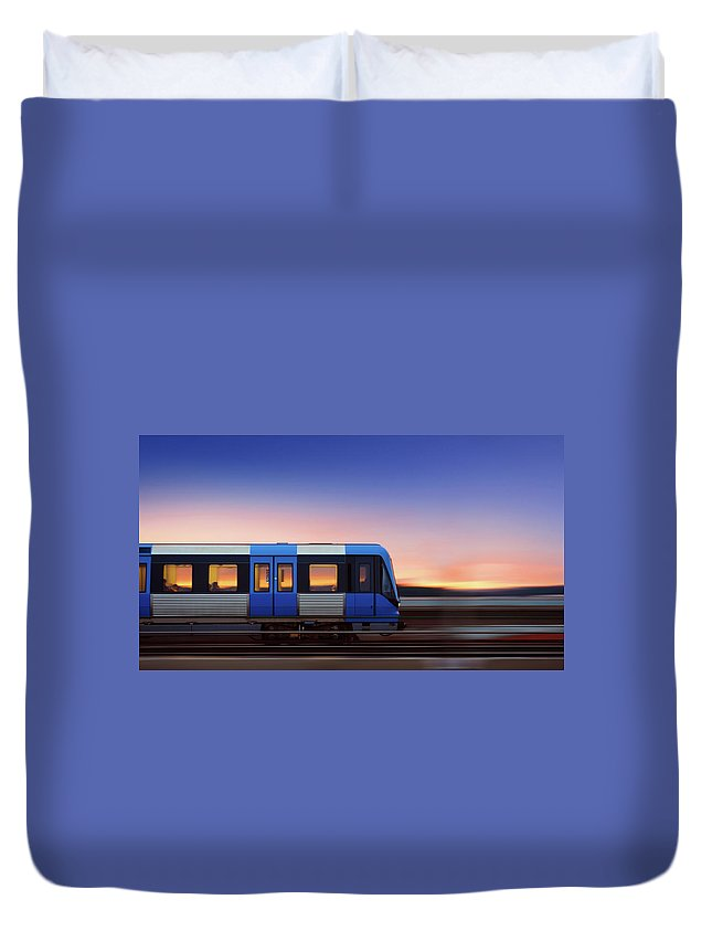 Train Duvet Cover featuring the photograph Subway Train In Profile Crossing Bridge by Olaser