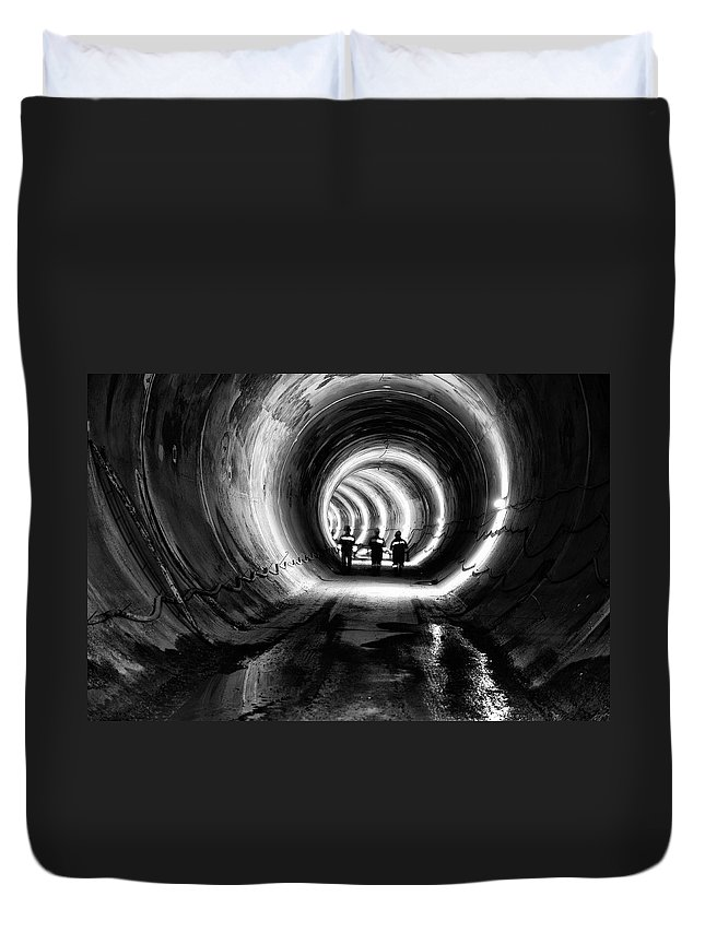 Miner Duvet Cover featuring the photograph Subway, Underground Tunnel Construction by Baranozdemir