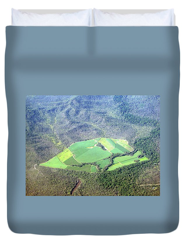 Cairns Duvet Cover featuring the photograph Sugar Canefields Carved Out Of Forest by Photography By Mangiwau