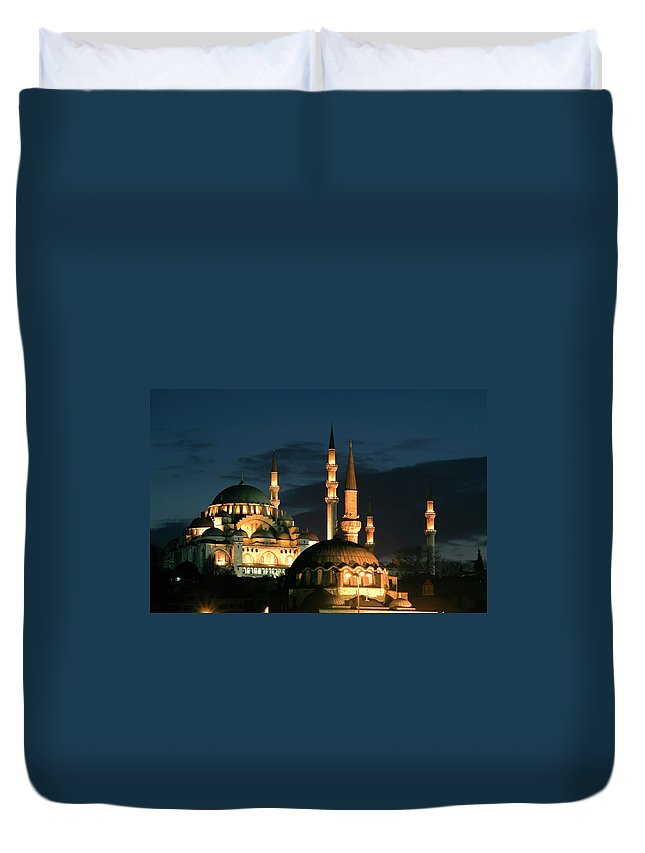 Istanbul Duvet Cover featuring the photograph Suleymaniye Mosque Istanbul by Lebazele
