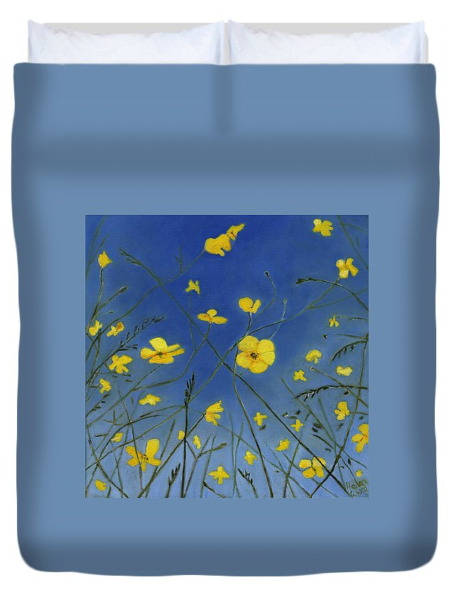 Buttercups Duvet Cover featuring the painting Summer Days And Lazy Ways by Helen White