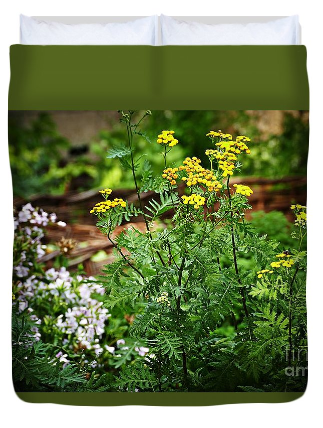Cloister Duvet Cover featuring the photograph Summer Gardens At The Cloisters 11 by Sarah Loft