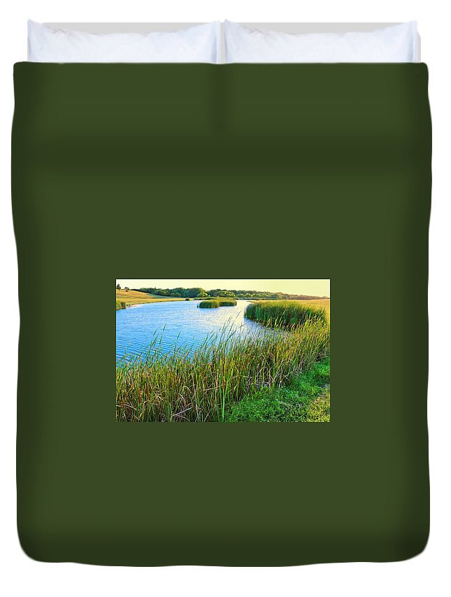 Water's Edge Duvet Cover featuring the photograph Summer Lake And Cattails by Dszc