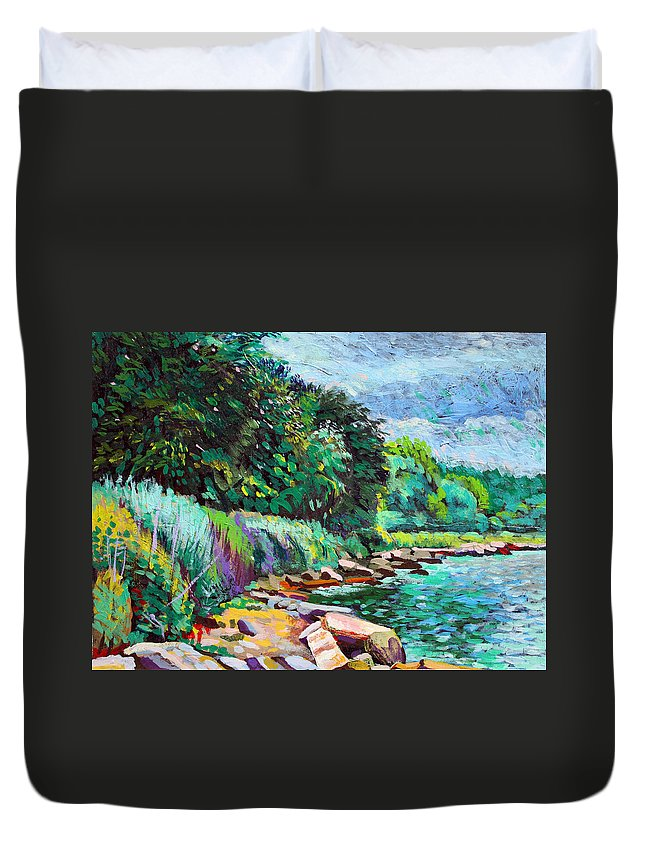 Tranquility Duvet Cover featuring the digital art Summer Shore Of Hudson River, New York by Charles Harker