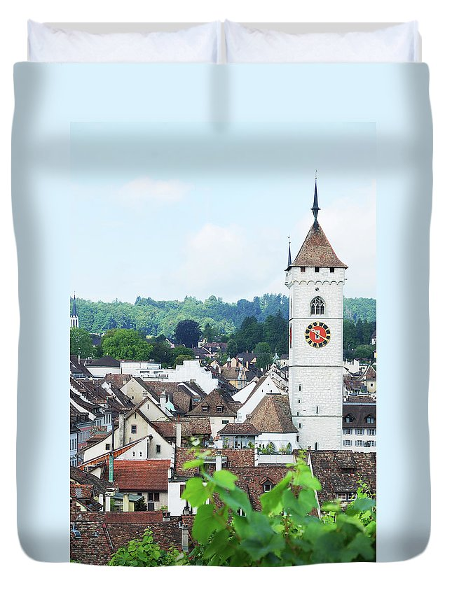 Outdoors Duvet Cover featuring the photograph Summer View Of Schaffhausen by Oks mit