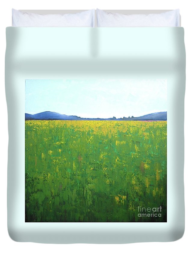 Abstract Landscape Duvet Cover featuring the painting Summer Wild Field by Vesna Antic