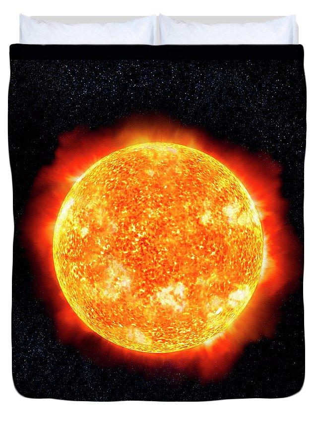 Research Duvet Cover featuring the digital art Sun & Stars by Ian Mckinnell