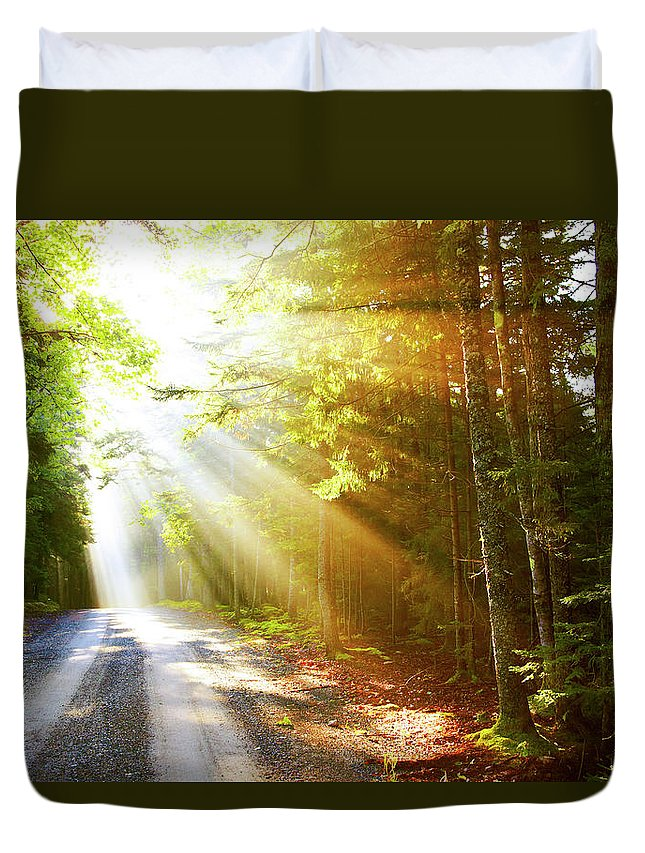Outdoors Duvet Cover featuring the photograph Sunflare On Road by Thomas Northcut