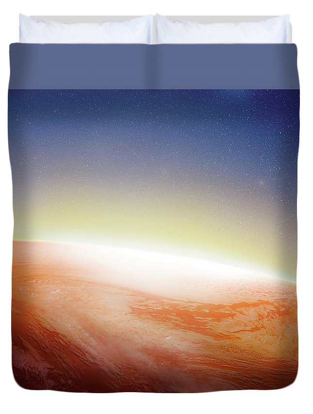 Globe Duvet Cover featuring the photograph Sunlight Behind The Earth, Computer by Vgl/amanaimagesrf