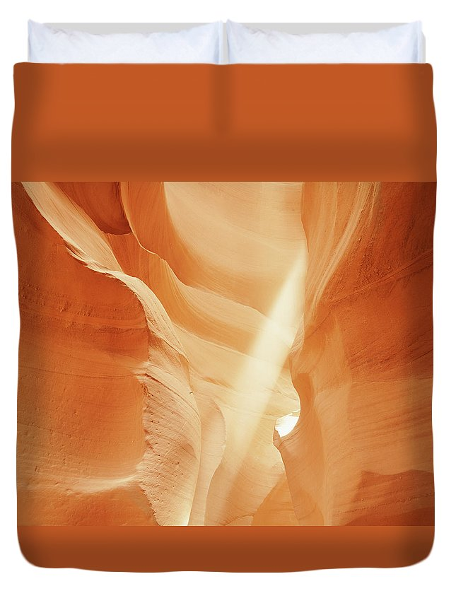 Antelope Canyon Duvet Cover featuring the photograph Sunlight In Antelope Canyon, Arizona by Robert Glusic