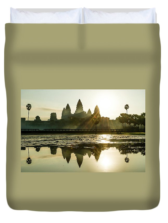 Tranquility Duvet Cover featuring the photograph Sunrise At Angkor Wat by Matt Davies Noseyfly@yahoo.com