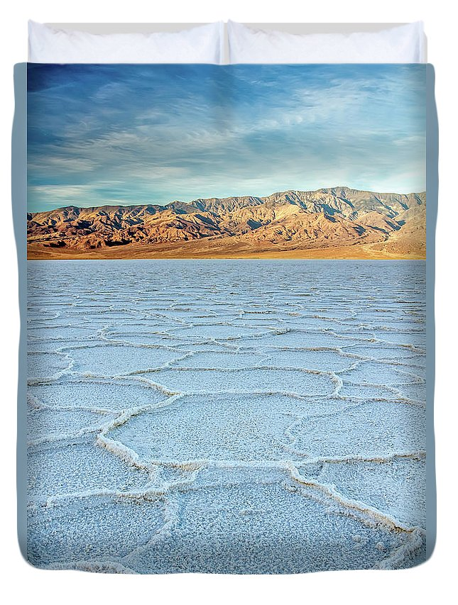 Scenics Duvet Cover featuring the photograph Sunrise At Badwater, Death Valley by Pierre Leclerc Photography