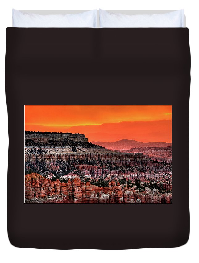Scenics Duvet Cover featuring the photograph Sunrise At Bryce Canyon by Photography Aubrey Stoll