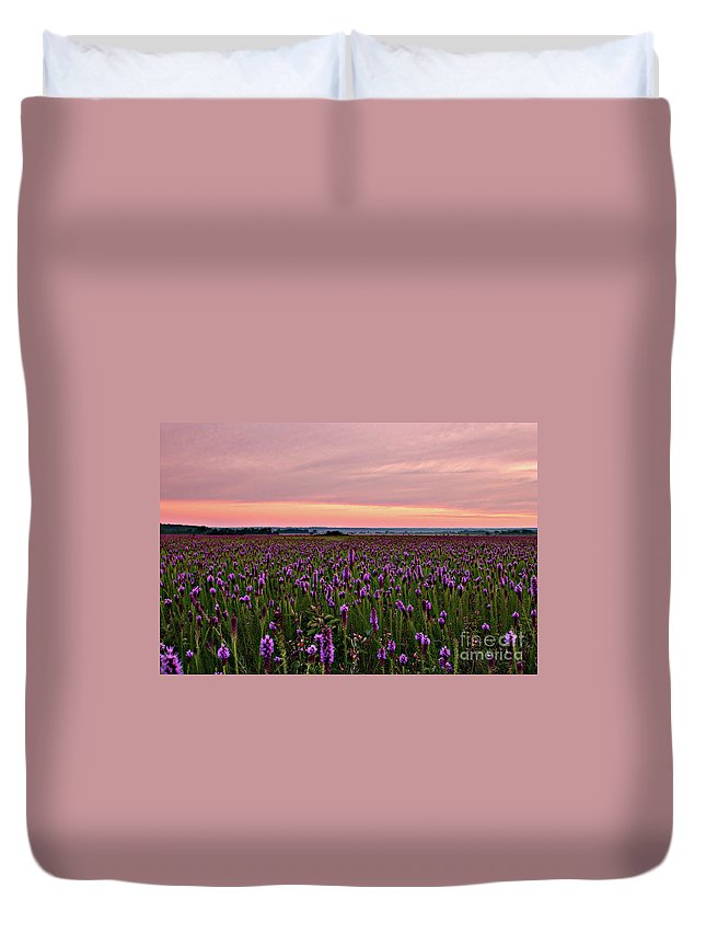 Sunrise At The Presson Oglesby Prairie Duvet Cover featuring the photograph Sunrise At The Presson Oglesby Prairie, Arkansas. by Michael Vance Pemberton