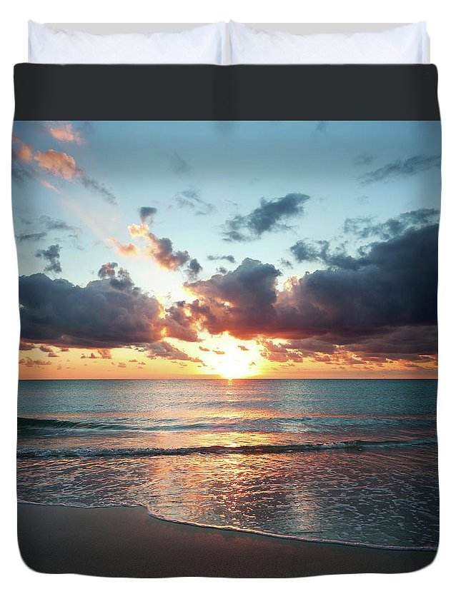 Scenics Duvet Cover featuring the photograph Sunrise In Miami by Tovfla