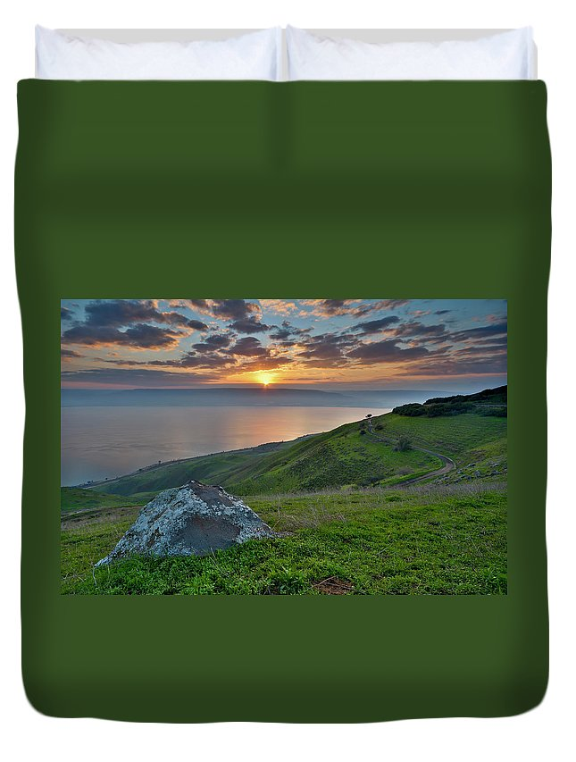 Tranquility Duvet Cover featuring the photograph Sunrise On Sea Of Galilee by Ilan Shacham