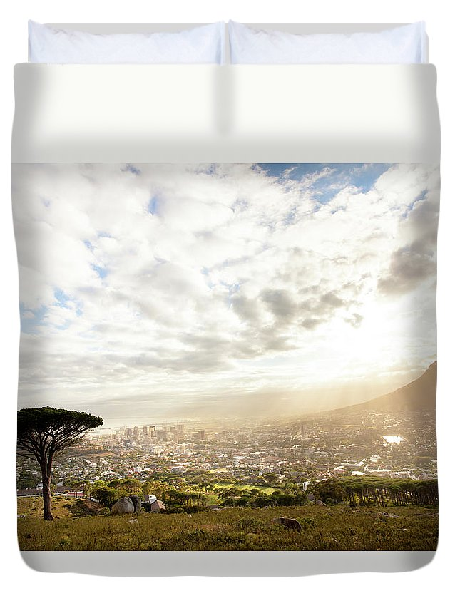 Scenics Duvet Cover featuring the photograph Sunrise Over Cape Town South Africa by Epicurean