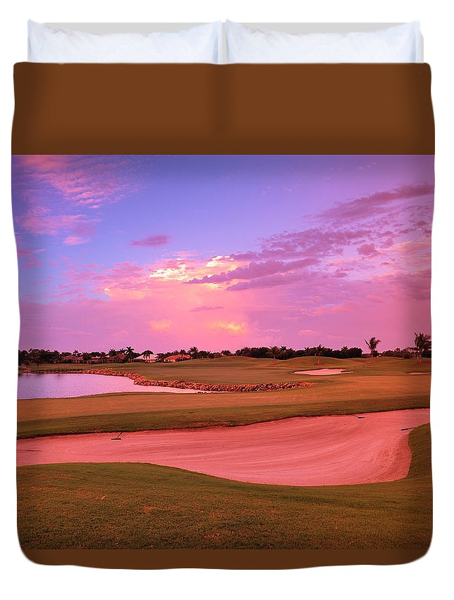Sand Trap Duvet Cover featuring the photograph Sunrise View Of A Resort On A Golf by Rhz