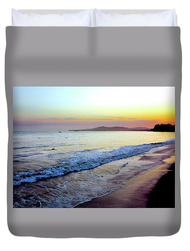 Tranquility Duvet Cover featuring the photograph Sunset At Butterfly Beach, Santa by Geri Lavrov