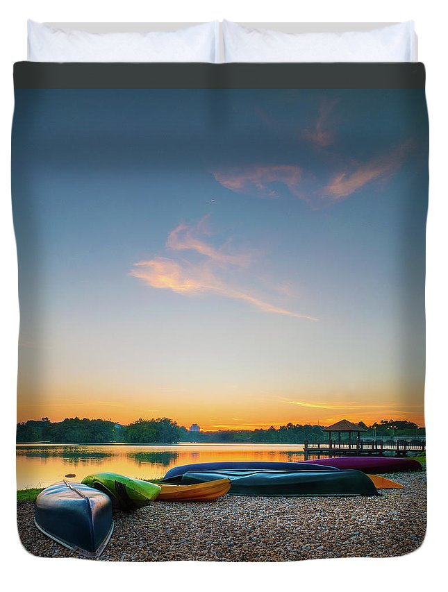 Tranquility Duvet Cover featuring the photograph Sunset At Kayak Putrajaya Lake by Muhammad Hafiz Bin Muhamad