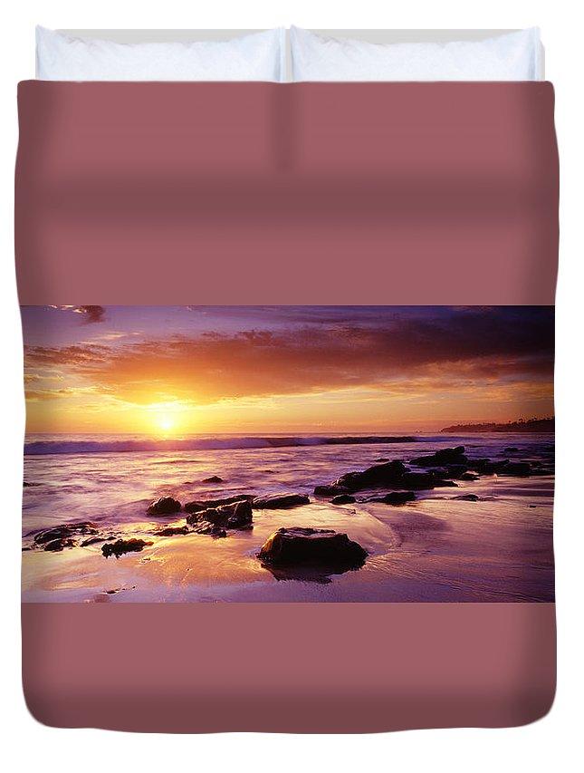 Scenics Duvet Cover featuring the photograph Sunset At Laguna Beach by Jason v