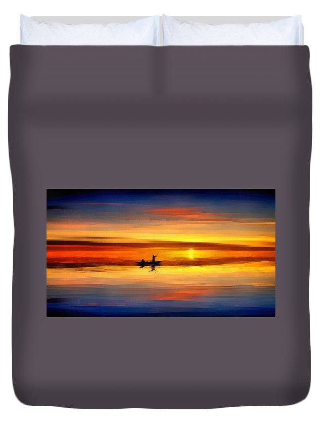Sunset Fishing Duvet Cover featuring the painting Sunset Fishing by Harry Warrick