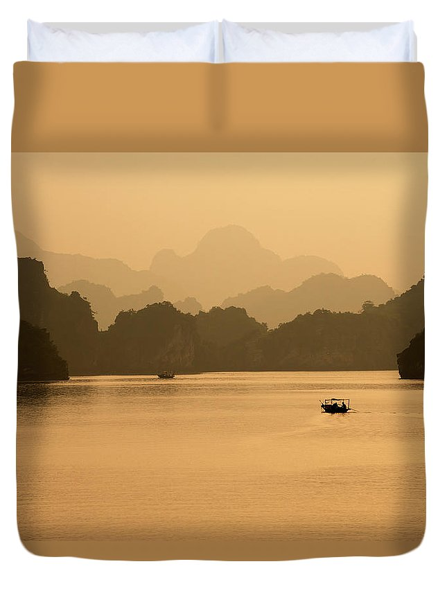 Halong Bay Duvet Cover featuring the photograph Sunset, Halong Bay, Vietnam by Yellow Dog Productions