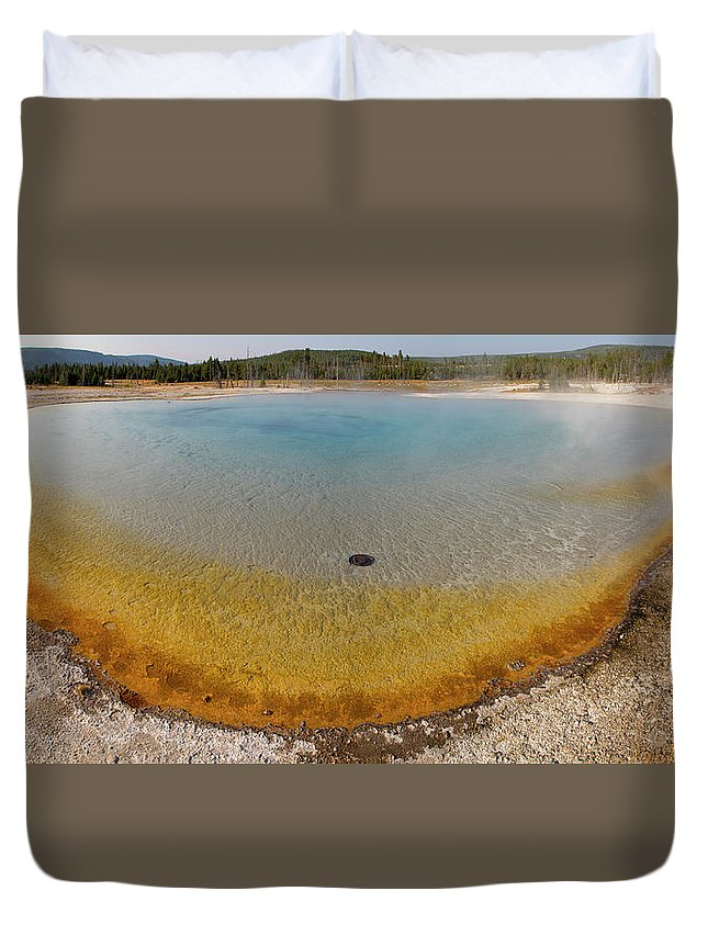 Mineral Duvet Cover featuring the photograph Sunset Lake Hot Spring, Black Sand by Inhauscreative