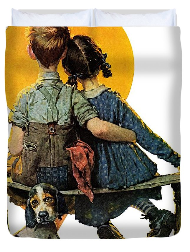 Benches Duvet Cover featuring the drawing Sunset by Norman Rockwell