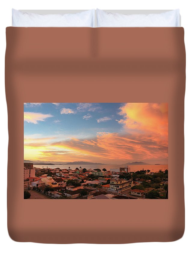 Tranquility Duvet Cover featuring the photograph Sunset Over Florianopolis by Dircinhasw