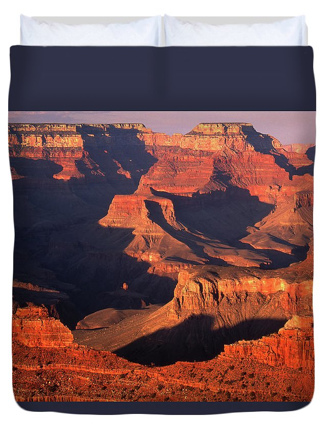 Toughness Duvet Cover featuring the photograph Sunset Over Grand Canyon by By Tiina Gill