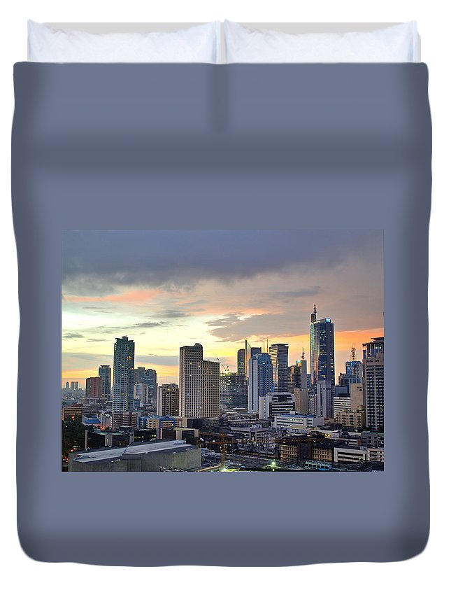 Outdoors Duvet Cover featuring the photograph Sunset Over Makati City, Manila by Neil Howard