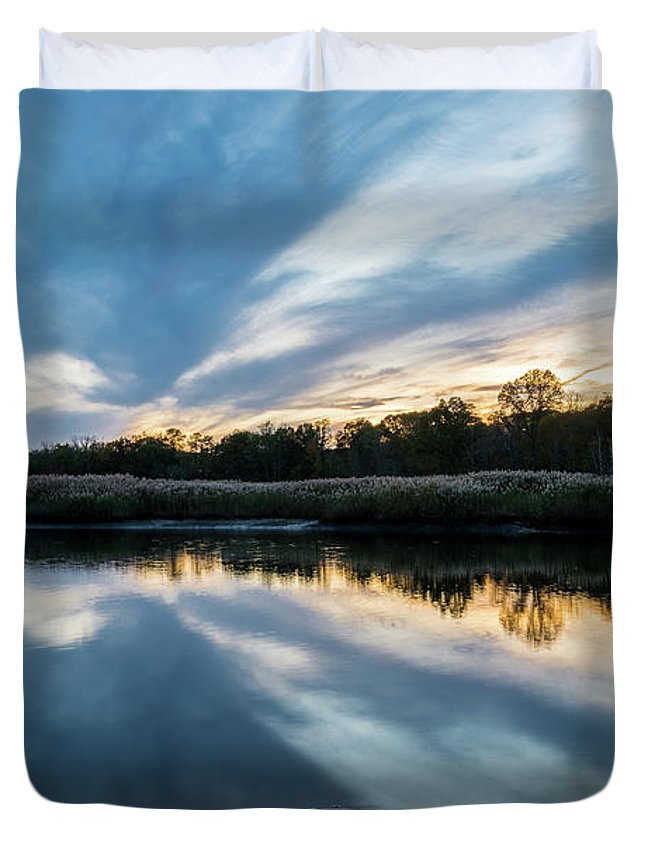 Sunset Duvet Cover featuring the photograph Sunset Reflections by Kaitlyn Casso