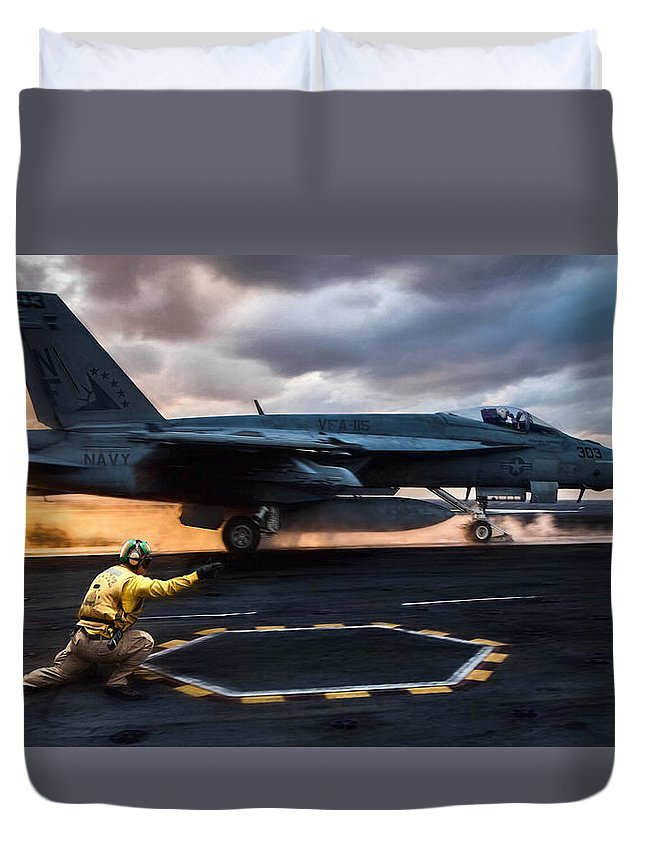 Catapult Officer Duvet Cover featuring the digital art Sunset Shooter by Peter Chilelli