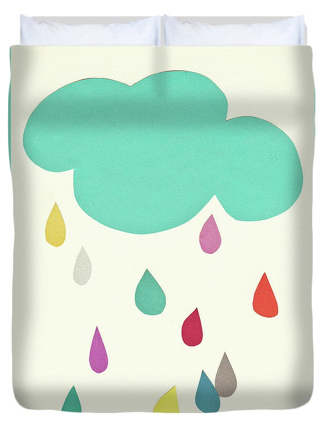 Clouds Duvet Cover featuring the mixed media Sunshine and Showers by Cassia Beck