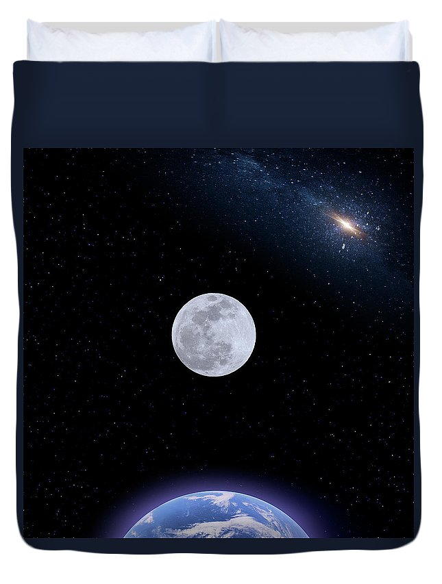 Moon Duvet Cover featuring the photograph Super Blood Wolf Moon Full Phase by Mark Andrew Thomas